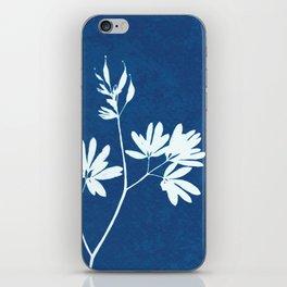 Blue botanical cyanotype wildflower print iPhone Skin