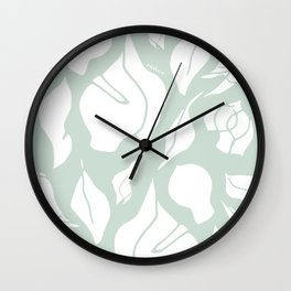 Gum Leaf Forms – green/white Wall Clock