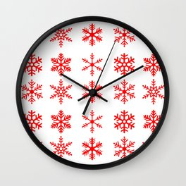 red snowflake seamless pattern Wall Clock