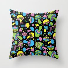 Shroomin Blacklight Throw Pillow