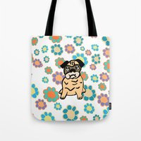 hippy Tote Bags featuring Hippy Pug  by lindseyclare
