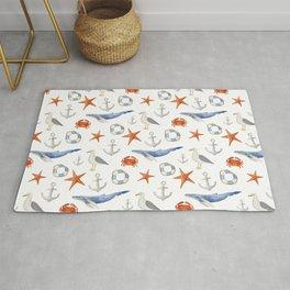 Watercolor nautical pattern Rug