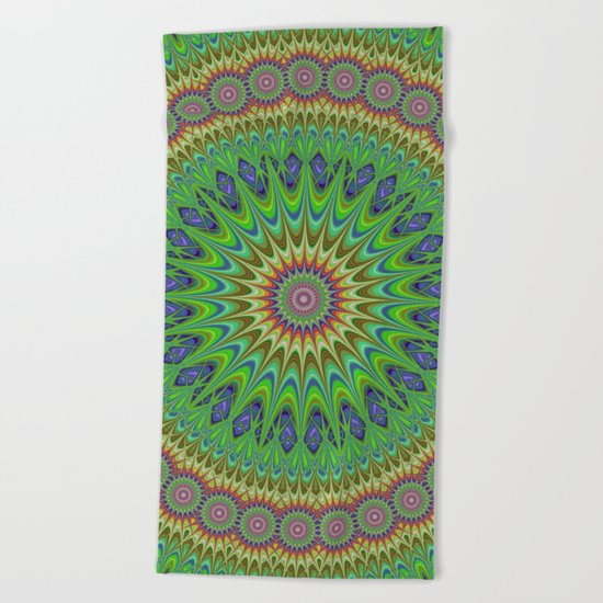 Spring star mandala Beach Towel