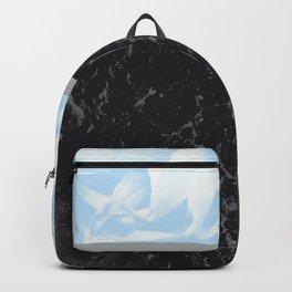 Light Blue Flower Meets Gray Black Marble #3 #decor #art #society6 Backpack