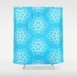 White Snowflakes stars ornament on Blue Shower Curtain