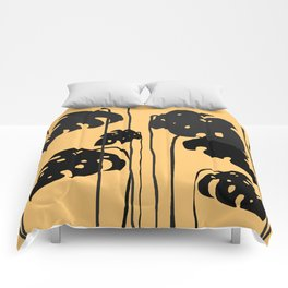 gold and black leaves Comforters