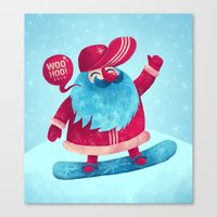snowboard Canvas Prints featuring Snowboard Santa by Lime