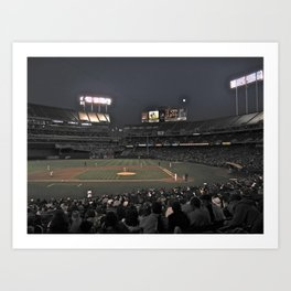 Baseball at night Art Print
