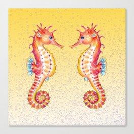 Seahorses Yellow Bubble Canvas Print