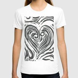 Block Print Heart -Black and White T-shirt