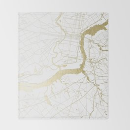Philidelphia - White and Gold Throw Blanket