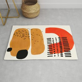 Mid Century Modern Abstract Minimalist Retro Vintage Style Fun Playful Ochre Yellow Ochre Orange  Rug