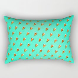 Cool and Trendy Pizza Pattern in Super Acid green / turquoise / blue Rectangular Pillow