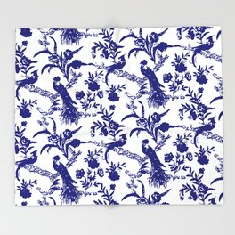 Royal french navy peacock Throw Blanket