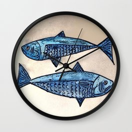 Blue fishes- Poissons bleus Wall Clock