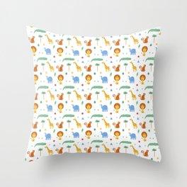 Kids Savannah Animals Throw Pillow