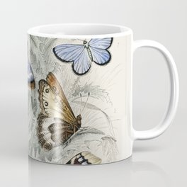 Peacock Butterfly, Camberwall Beauty, Purple Emperor, Glanville Fritillary, Grayling Butterfly, Green Hair Streak, and Silver Studded Blue Butterfly from A history of the earth and animated nature (1820) by (1730-1774) Coffee Mug