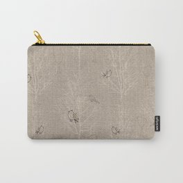 Cute Little Line Art Birds in White Trees - Taupe Carry-All Pouch