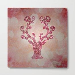 Pink sparkling glitter deer - Sparkle Effect Metal Print