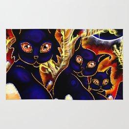 Three Halloween Cats Rug