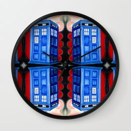 British Blue Police Public Call Box - Mirror 16 Wall Clock
