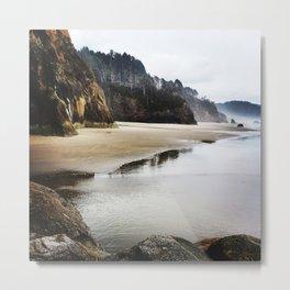 Hug Point Landscape On Oregon Coast Metal Print