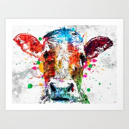 Cow Watercolor Grunge Art Print