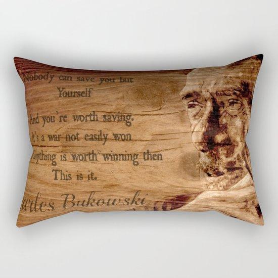 Charles Bukowski - wood - quote Rectangular Pillow