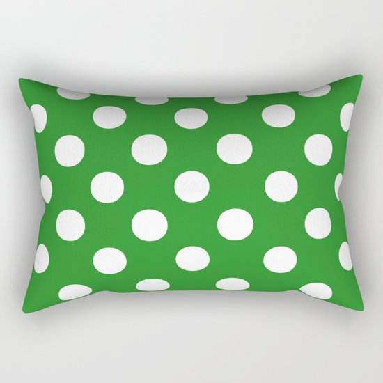 Polka Dots (White/Forest Green) Rectangular Pillow