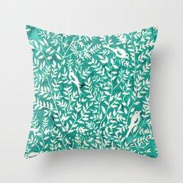 Wonderlust Τurquoise#Birds let's run away Throw Pillow