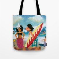 surfer Tote Bags featuring Surfer by colortown