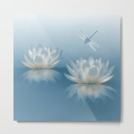 Blue Lotus and Dragonfly Metal Print