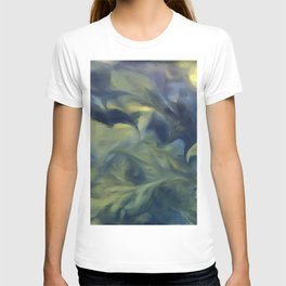 Jack Frost In Inkwell Blue and Yellow Abstract Art T-shirt
