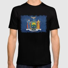 New York State Flag, vintage retro style MEDIUM Black Mens Fitted Tee