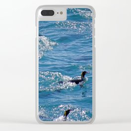 King Penguins Swimming Clear iPhone Case