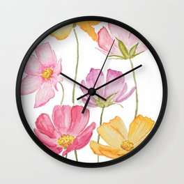 colorful cosmos flower Wall Clock