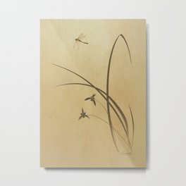 Orchid and Dragonfly Metal Print