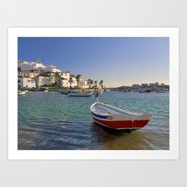 Red fishing boat, Ferragudo, the Algarve, Portugal Art Print