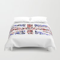 union jack Duvet Covers featuring Union Jack by David T Eagles