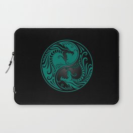 Teal Blue and Black Yin Yang Dragons Laptop Sleeve