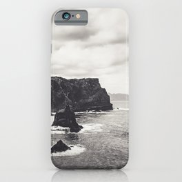 Black and white mountain cliffs in the ocean in Madeira / wanderlust fine art print  iPhone Case