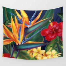 Tropical Paradise Hawaiian Floral Illustration Wall Tapestry