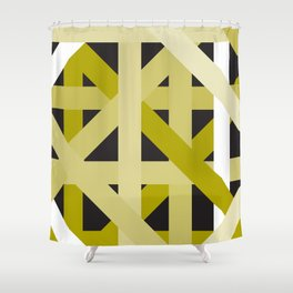 Gold Structural Lines Pattern Shower Curtain