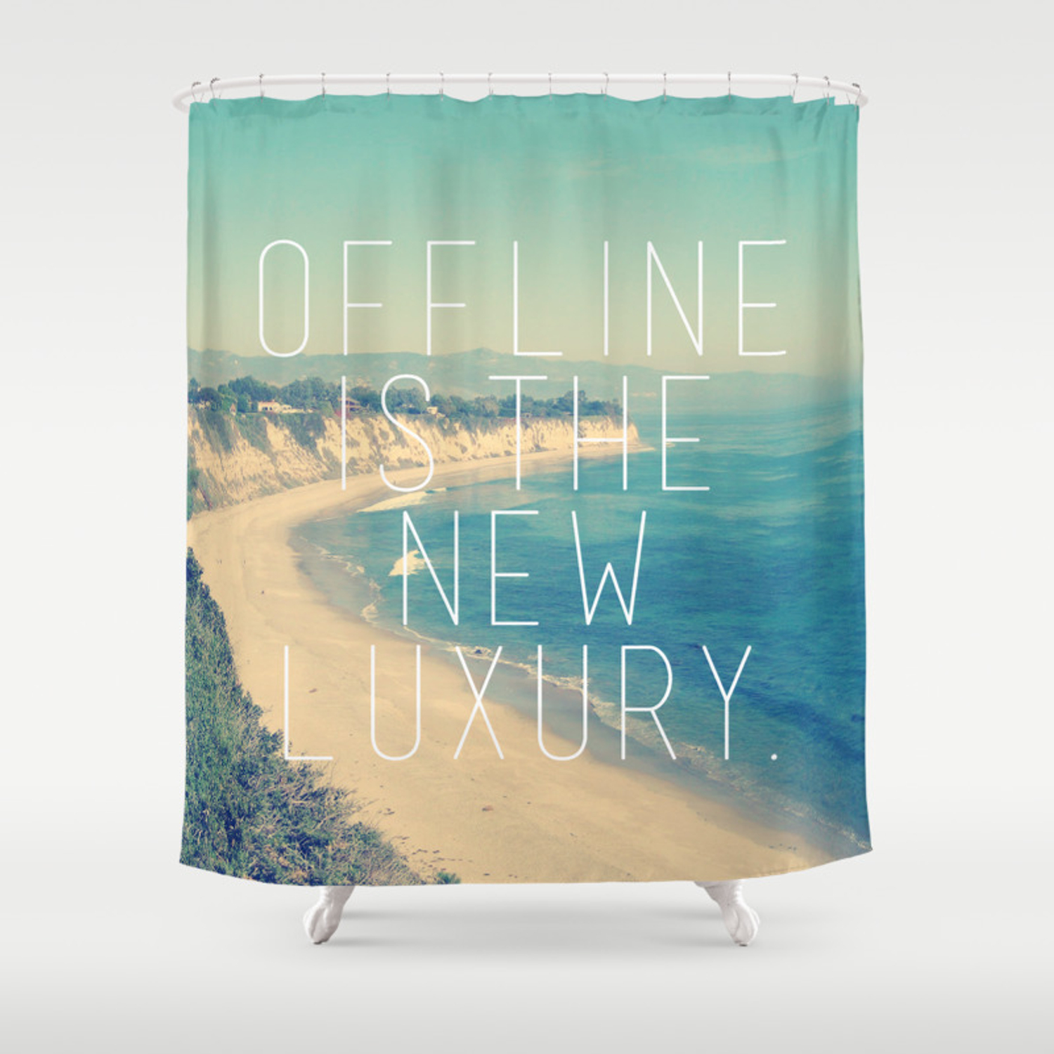 Offline Is The New Luxury Vintage Beach Print Shower Curtain