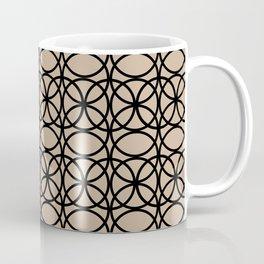 Pantone Hazelnut and Black Rings Circle Heaven 2 Overlapping Ring Design Coffee Mug