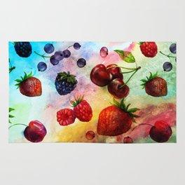 Summer fruits - Fresh strawberry berry pastel pattern Rug