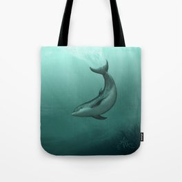 """""""Siren of the Lagoon"""" by Amber Marine ~ Indian River Lagoon Bottlenose Dolphin Art, (Copyright 2015) Tote Bag"""