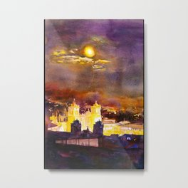 Watercolor painting of the churches on the Plaza de Armas in the Incan city of Cusco- Peru Metal Print