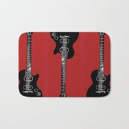 3 Electric Guitars (blck on red) Bath Mat