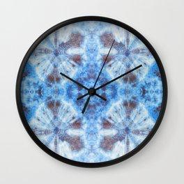 tie dye ancient resist-dyeing techniques Indigo blue brown textile Wall Clock